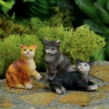 Miniature Fairy Cat Set /3 Asst  Faerie Gnome Garden Dollhouse Cats GO 16862