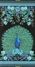 "24"" Fabric Panel - Timeless Treasures Enchanted Plume Peacock on Black"