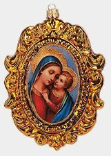 The Madonna with Baby Jesus Portrait Polish Mouth Blown Glass Christmas Ornament