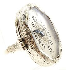 18k Solid Gold Vintage Ring Watch 15 Jewels Stunning Detail Opens Free Ship E