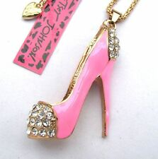 Betsey Johnson crystal/Pink enamel  Pretty high heels pendant Necklace#332L