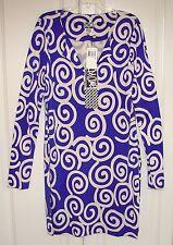 NWT Diane von Furstenberg Reina blue Large Swirl shift dress sz 8