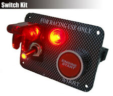 Ignition Engine Start Push Starter Button Panel Toggle Switch Red Led Carbon #11