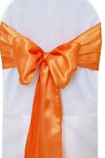 "100 Orange Satin Chair Cover Sash Bows 6"" x 108"" Banquet Wedding Made in USA"