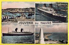 cpsm 76 - SOUVENIR du HAVRE en 1954 Port Paquebots Le Liberté, L'Ile de France