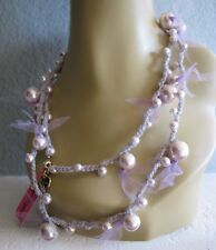 BETSEY JOHNSON SKI BUNNY FAUX PEARL & LAVENDER TULLE LONG NECKLACE~NWT~RARE