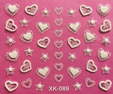 Nail Art 3D Decal Stickers White Hearts & Stars XK089