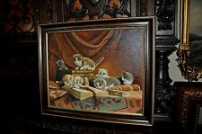 wonderful vintage Cat  Oil Painting