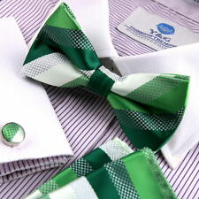 BT2111 Lime Green Striped Cheap Gift Silk Pre-tied Bow Tie Cuff Hanky Set Epoint