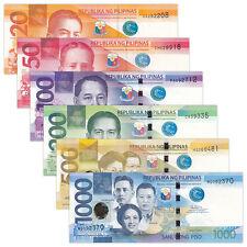 Philippines SET 6 PCS, 20 50 100 200 500 1000 Piso, 2013-2016, P-206-211, UNC
