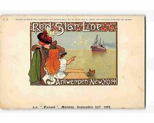 ST1150: RED STAR LINE C-5 CASSIERS (chromolitho 1913 menu top postcard)