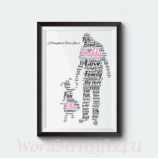 Personalised Dad Daddy and Daughter A4 Word Art Print Fathers Day Gift