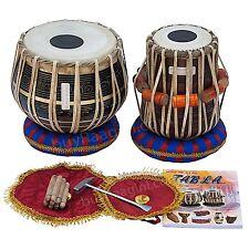 Tabla Drum Set Black Brass Bayan 3 KG , Finest Dayan with Book, Hammer, Cushions