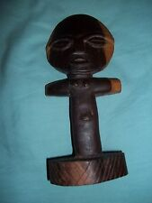African Fertility God Figure Carved Wood Statue Fine Native Folk Art