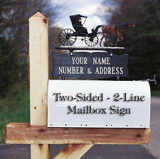 Whitehall 2-Sided 2 Line Mailbox Address Sign - Option of ornament & 17 colors