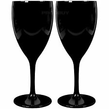 Set di 4 NERO LUCIDO POLICARBONATO 350ml vino Calici Bicchieri WEDDING PARTY BAR