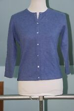 NWT Griffen Two Ply Cashmere 3/4 Sleeve Cardigan - Periwinkle Blue S