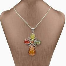 Colorful Cross Flower faux amber Chain Charm Statement Pendant Stunning Necklace