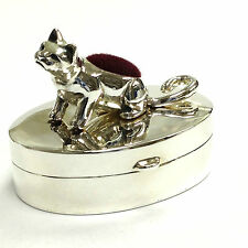 VICTORIAN STYLE CAT KITTEN PIN CUSHION PILL BOX 925 SOLID STERLING SILVER