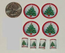 Dollhouse Miniature Christmas Tree Plates & Cups Dishes 1:12 One Inch Scale H7
