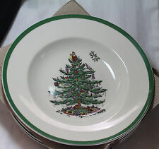 "4 Spode CHRISTMAS TREE 9"" Rimmed SOUP PLATES or BOWLS  **NEW in BOX** 2 avail."