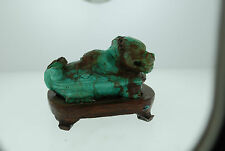 ANTIQUE TURQUOISE CARVED SEA TURTLE DRAGON FIGURINE W/ STAND