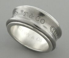 TIFFANY & Co. STERLING SILVER TITANIUM 1837 RING WEDDING BAND SIZE 5