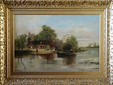 FABULOUS LARGE VICTORIAN COUNTRY LANDSCAPE OIL ON CANVAS PAINTING 'E HEY' C1900