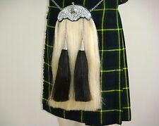 Scottish Thistle Crown Sporran | White horse hair, black tassel & Cantle | SP250