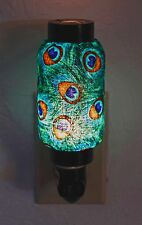 NWT Gift Ready! Fancy Peacock Feather Hand Made Quality Lantern Night Light Lamp