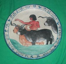 1983 EGYPTIAN POTTERY PAINTING CHAPEL TOMB NEBAMUN EGYPT BOY HERD CATTLE PLATE