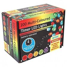 200 LED Battery Operated Timer Lights - Multi Colour