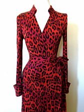 DIANE VON FURSTENBERG JEANNE VINTAGE RED LEOPARD SILK WRAP DRESS 4 6