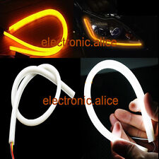 2x 60cm DC 12V DRL DayTime Running Yellow Flexible Tube Headlight Audi Style