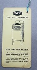 BOOKMARK Vintage Old G.E.C. Cookers DC456 DC756 DC757 General Electric Company