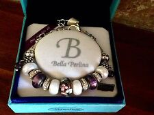 Bella Perlina Charm Bead Bracelet (Like Pandora) - Deluxe Purple Grape - NIB