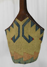 Vintage Brown Leather and Canvas Bucket-Style Shoulder Bag Made in India