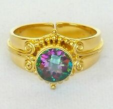 Sajen Womens Ring 925 Sterling Silver Gold Vermeil Mystic Topaz Ornate Sz 9 3/4