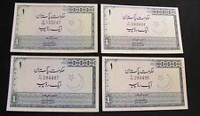Lot of 4 Government of Pakistan 1 Rupee Notes