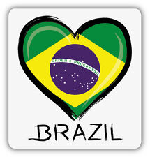 I Love Brazil Flag Heart Car Bumper Sticker Decal 5'' x 5''