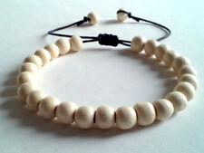 men's shamballa beaded bracelet handmade jewelry gift WHITE WOOD beads