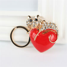 Red Heart Cat Love Creative Crystal Pendant Charm Purse Bag Key Chain Ring Gift