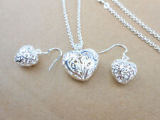 925 Sterling silver plated Heart Necklace Women Hot Pendant Jewelry Set Earrings