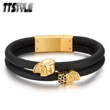TTstyle Leather Gold Tone Skull 316L Stainless Steel Bracelet Wristband