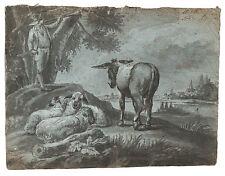 Hirtenszene / Viehstück Handzeichnung 1810 old master drawing landscape