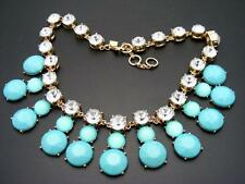 $68 Banana Republic Turquoise Blue Cabochon & Rhinestone Necklace Goldtone 20""