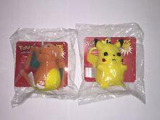 NINTENDO Pokemon Pikachu & Charizard  RARE 1998 AVON Plush Clip-on Zipper Pulls