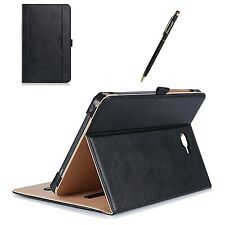 Galaxy Tab A 10.1 Cover Case Tablet Stand Protector Card Pocket Black Leather