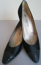 ST JOHN COLLECTION BLACK SATIN PUMP SZ 7.5 TOE PAILLETTE COVERED PERFECT UPPERS