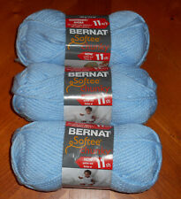 Bernat Softee Chunky Yarn Lot Of 3 Skeins (Baby Blue #28127)